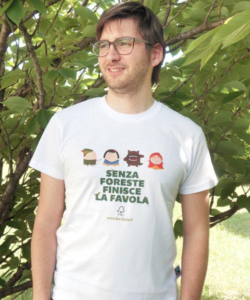 "T-shirt uomo ""Senza foreste finisce la favola"""