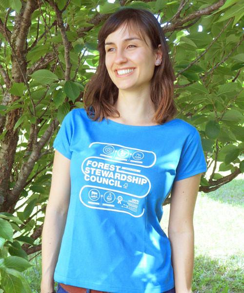 T-shirt donna infografica / Baltic blue