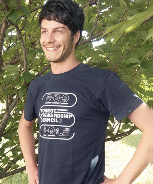 T-shirt uomo infografica / Blue navy