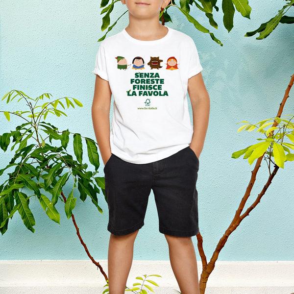 "T-shirt bambino ""Senza foreste finisce la favola"""